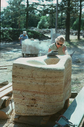 View of Joan Gambioli's sculpture in progress