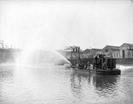 Testing fire barges for navy use