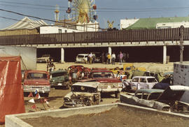 1972 P.N.E., south east corner of [Legion Bingo] tent - cars belong to demolition derby