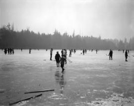 [People skating and playing hockey on Lost Lagoon]