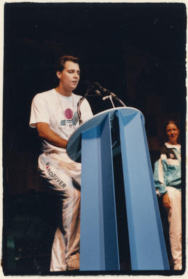 [Mark Mees] delivering speech