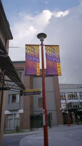 Shanghai Alley street sign and Silk Road banners