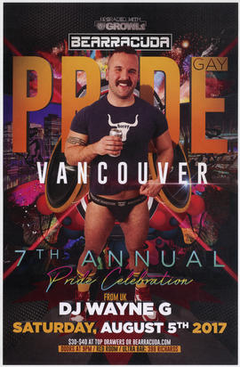 Bearracuda : 7th annual pride celebration : DJ Wayne G : Saturday, August 5th, 2017