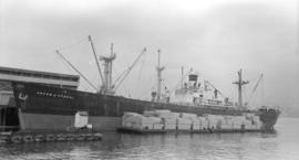 S.S. Joseph A. Brown [at dock, with barges alongside]