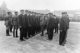 [The Duke of Connaught and Chief Carlisle inspect fire brigade at the Cambie Street grounds]