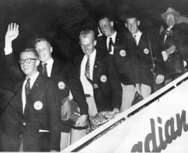 [Canadian Olympic Team members deplane from a Canadian Pacific flight from Australia]