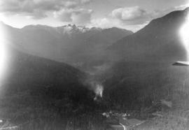 Capilano Valley and the Lions, Canyon View Hotel in foreground