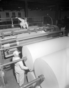 Wrapping rolls of [paper at] Pacific Mills
