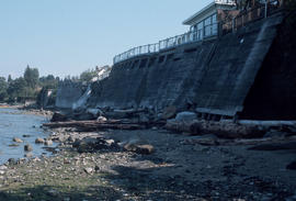 [View from beach of retaining walls for Kitsilano Beach waterfront properties]