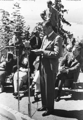 "[Mr. K.A. Waites speaking at the unveiling of the walking beam of the S.S. ""Beaver"" at ..."