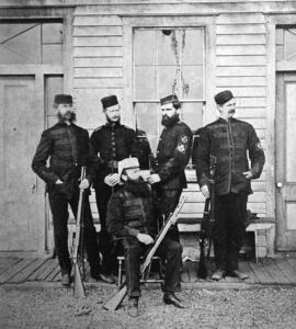 [The New Westminster Team at the British Columbia Rifle Association match at Clover Point Rifle R...