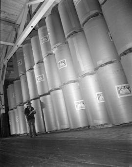 [Stacks of newsprint] rolls [at] Pacific Mills