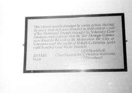 Notice at St. Peter's Parish Church, Petersham, describing contributors to the restoration o...