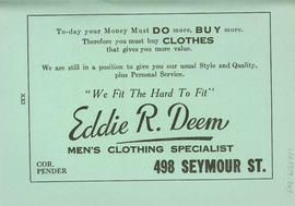 Sectional map and street directory of Vancouver, British Columbia : Eddie R. Deem advertisement