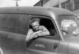 Koenig in vehicle of his painting business