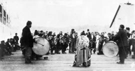 Indians Dancing before T.R.H. The Duke and Duchess of Connaught, Alert Bay, B.C.