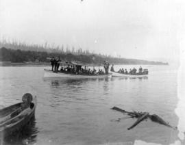 [Men in boats at B.C. Iron Works Machinists' picnic]