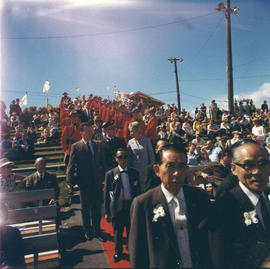 Japanese guests approach stage at 1969 P.N.E. Opening Ceremonies