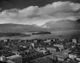[View of north west area of downtown Vancouver, showing parts of Stanley Park, Burrard Inlet, and...