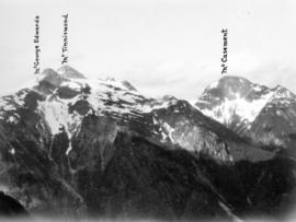 [View of the peaks of Mount George Edwards, Mount Tinniswood and Mount Casement]