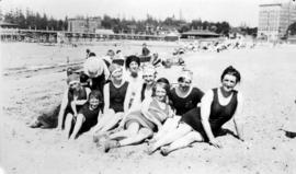 A group of railway wives and friends at English Bay
