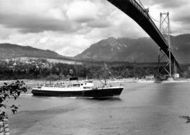 "[S.S. ""Chilcotin"" under the Lion's Gate Bridge]"