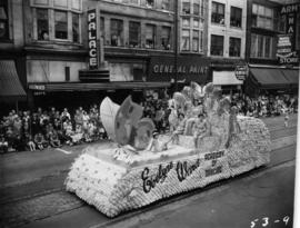 Evelyne Ward Academy of Dancing float in 1953 P.N.E. Opening Day Parade
