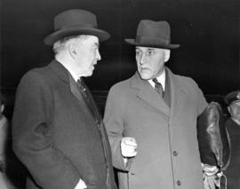 Honorable J.L. Ralston, Minister of National Defence who has arrived back in Ottawa after an insp...