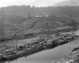 [Partially constructed Coquitlam Dam, showing upstream side of dam]